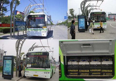 Шанхайский технопарк, международный выставочный центр и ряд других интересных мест уже обзавелись остановками для Ultracap Bus. Справа внизу: блок суперконденсаторов (фотографии Sinautec Automobile Technologies, Shanghai Aowei Technology).