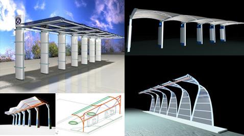 Возможный дизайн остановок-заправок (иллюстрации Sinautec Automobile Technologies).